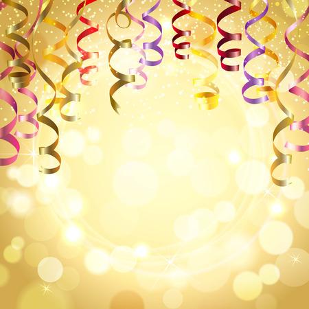 celebra: Celebraci�n de fondo de color dorado con serpentinas realista festivo ilustraci�n vectorial Vectores