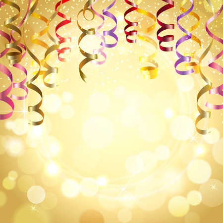 Celebration golden color background with realistic festive streamers vector illustration