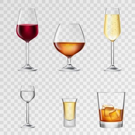 tomando alcohol: Bebidas de alcohol en vasos realistas 3d transparente conjunto aislado ilustración vectorial