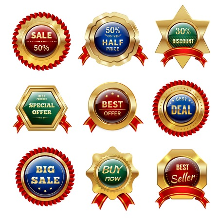 Golden sale and discount labels with ribbon decor isolated vector illustration
