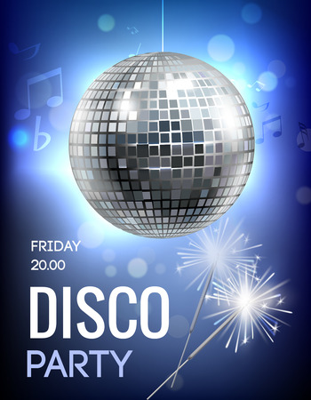 stage decoration abstract: Party invitation poster with disco ball in spot lights vector illustration