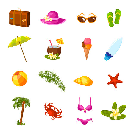 coconut crab: Beach time vacation surf coconut milk holiday paradise weekend bikini party multicolored icons set isolated vector illustration Illustration