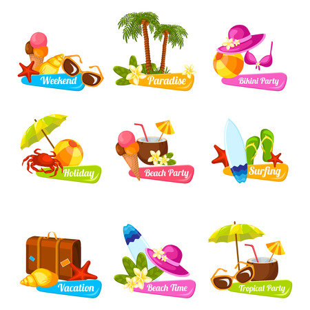 Beach time vacation surfing holiday paradise weekend bikini party emblems set isolated vector illustration