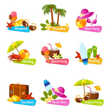 Strand tijd vakantie surfen vakantieparadijs weekend bikini partij emblemen instellen geïsoleerde vector illustratie Stock Illustratie