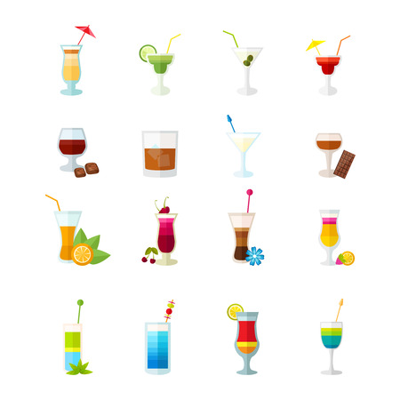 aperitif: Multicolored large icons set for cocktails party and alcoholic drinks isolated vector illustration Illustration