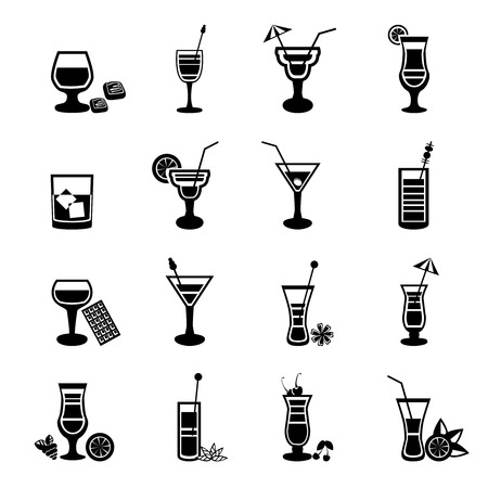 Large black and white drink alcohol glass party cocktail icons set isolated vector illustration Illustration