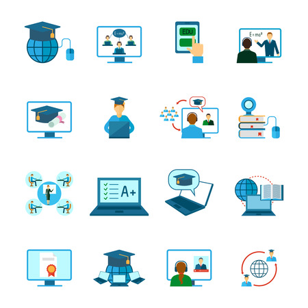 Online education learning and training icon flat set isolated vector illustration Ilustração