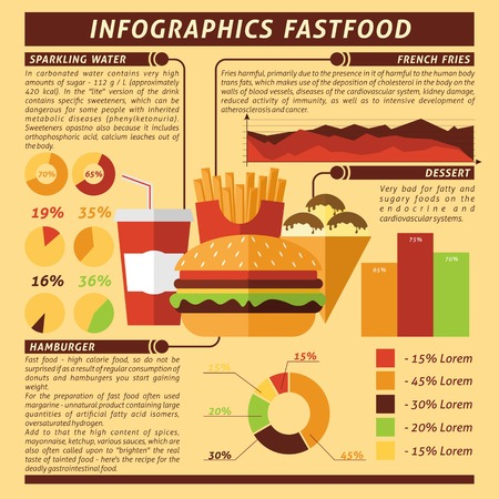 fried noodles: Fast food infographics set with desserts and drinks symbols and charts vector illustration