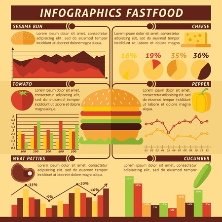 burger and fries: Fast food infographics set with cheeseburger ingredients and charts vector illustration