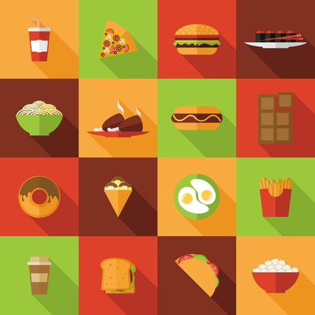 fried noodles: Fast food flat icons set with burger chicken chocolate noodles isolated vector illustration