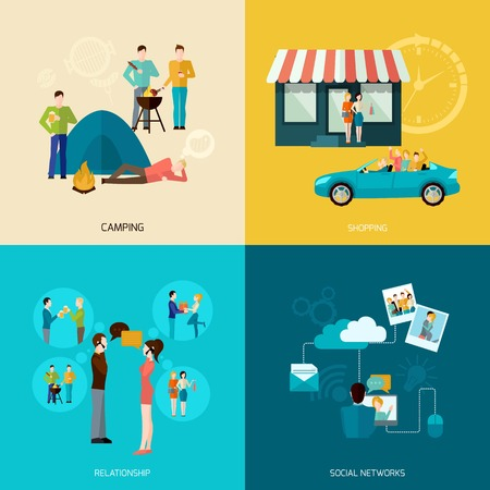team mate: Friends design concept set with camping shopping social network and relationship flat icons isolated vector illustration Illustration