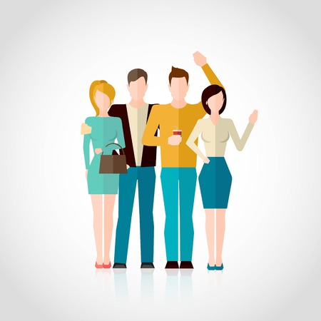teammate: Friends concept with four men and women figures hugging isolated on white background flat vector illustration Illustration