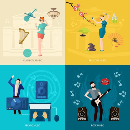 People listening music design concept set with classical relaxing techno rock flat icons isolated vector illustration Çizim