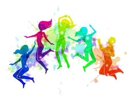 jumping people: Cheerful happy free motion jumping people rainbow colored vector illustration Illustration