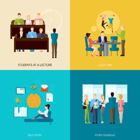 lunch break: Students design concept set with lecture lunch time self-study schedule flat icons isolated vector illustration