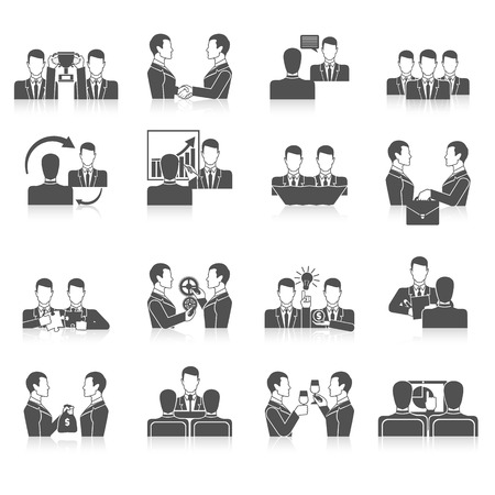Partnership black icons set with business people corporate teamwork isolated vector illustration Illustration