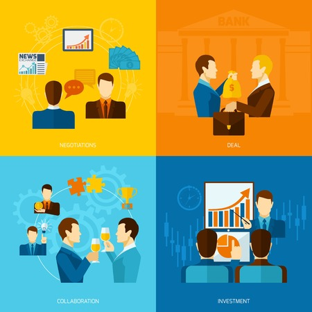 Partnership design concept set with negotiations deal collaboration investment flat icons isolated vector illustration Vector