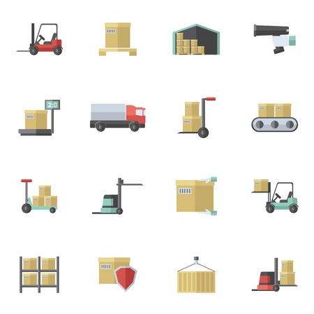 Warehouse shipping and logistics freight transportation icons flat set isolated vector illustration Illustration