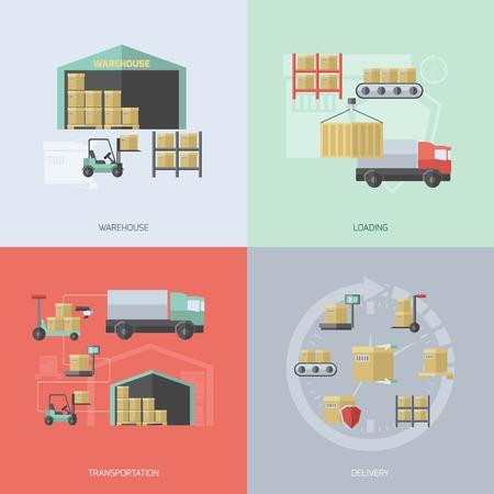Warehouse design concept set with loading transportation and delivery flat icons isolated vector illustration Illustration