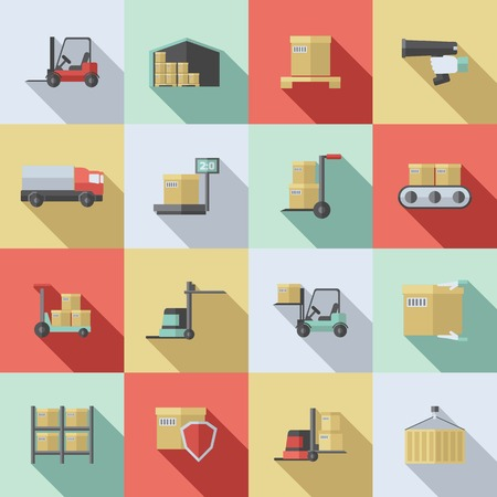 manejar: Iconos planos Almacén establecen con aislados de suministro de entrega de transporte de carga ilustración vectorial Vectores