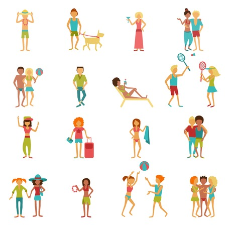 easy chair: People on vacation beach party summer holidays set isolated vector illustration Illustration