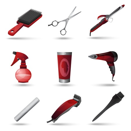 blow drying: Hairdresser and beauty salon decorative icons set isolated vector illustration