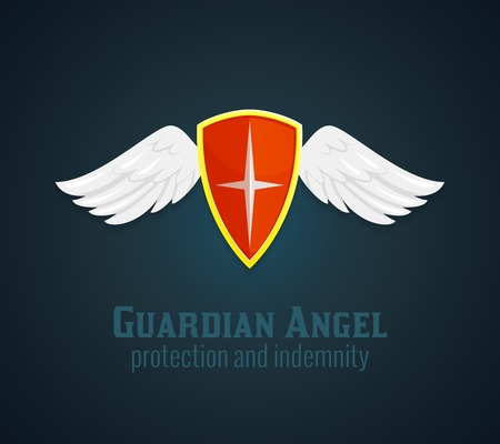 guardian angel: Antique medieval shield and wings icon with guardian angel protection and indemnity text flat vector illustration