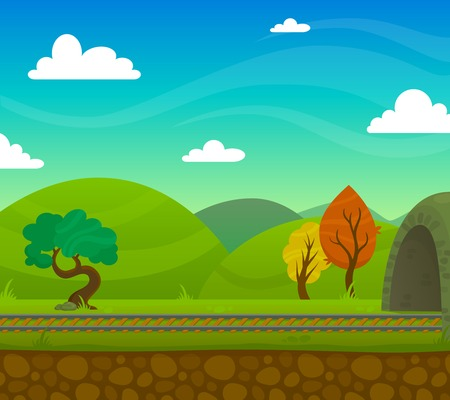 roadway: Countryside railway landscape with roadway and hills on background flat vector illustration