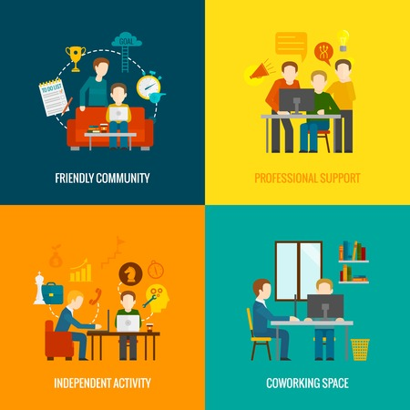 community work: Coworking space center design concept set with friendly community professional support independent activity flat icons isolated vector illustration Illustration
