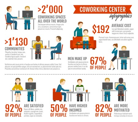 Coworking inforgaphics set with coworkers figures and professional community workplace information vector illustration