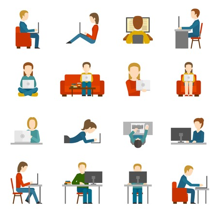 man using computer: People working on computer and home and in office flat icons isolated vector illustration