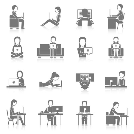 couches: People working on computer sitting and laying black icons set isolated vector illustration Illustration