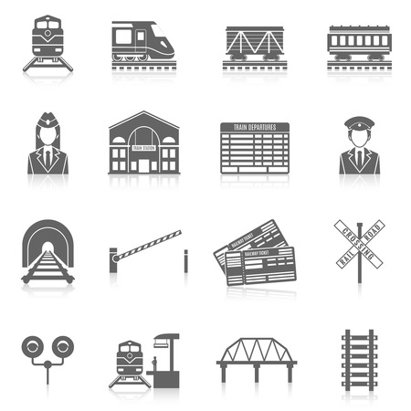 Icon Railway set zwart met station tunnel spoor seinpaal geïsoleerde vector illustratie