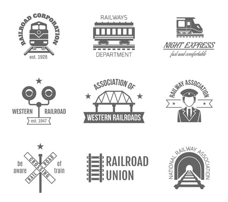 railway transports: Railway corporation railroad department fast train express black label set isolated vector illustration Illustration