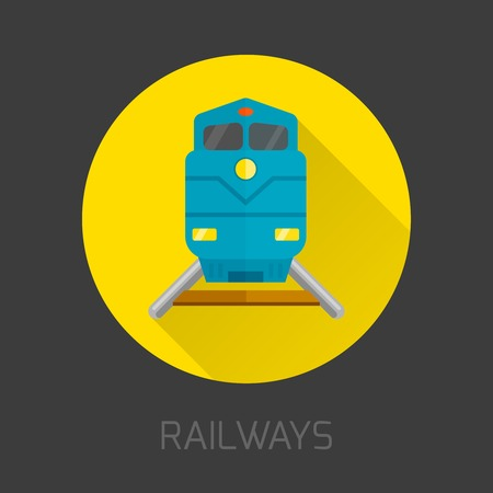 modern train: Railway and subway train flat icon isolated on dark background vector illustration