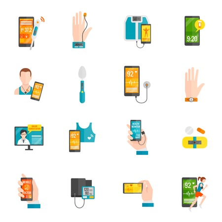 blood pressure monitor: Digital health emergency medical consultation flat icons set isolated vector illustration