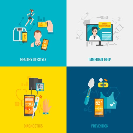 immediate: Digital health design concept set with healthy lifestyle immediate help diagnostics and prevention flat icons isolated vector illustration Illustration