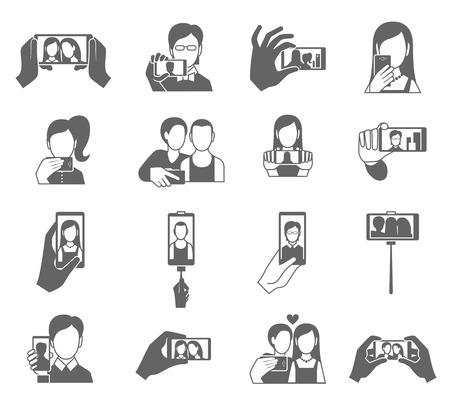 Selfie는 휴대폰 고립 된 벡터 일러스트 레이 션에서 사진을 복용하는 사람들과 검은 색 세트 아이콘