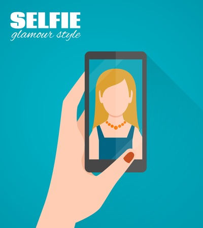 woman smartphone: Glamour style selfie flat poster with female hand holding smartphone with woman picture vector illustration Illustration