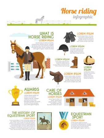 cavallo che salta: Infografica Jockey set con cavallo cavaliere segni di sport equestri illustrazione vettoriale
