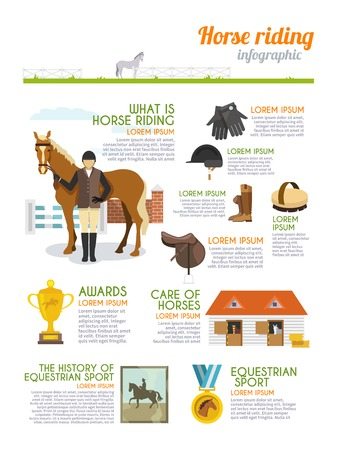 horse jumping: Jockey infographics set with horse rider equestrian sport signs vector illustration Illustration