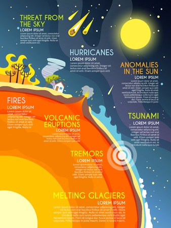 hurricane: Natural disaster infographics set with fires volcanic eruption melting glaciers elements vector illustration