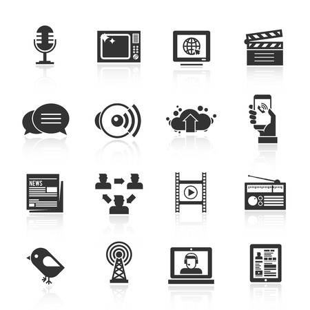communication industry: Media icons black set with microphone tv computer film isolated vector illustration Illustration