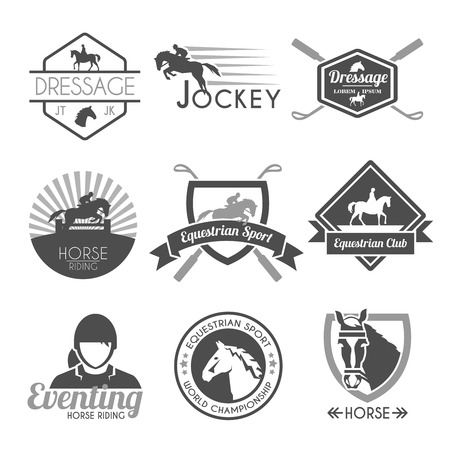horses: Jockey label dressage sport club emblems black set isolated vector illustration
