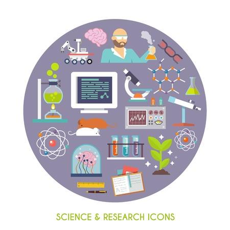laboratorio: Ciencia e investigaci�n concepto con el laboratorio plana Iconos del equipo conjunto ilustraci�n vectorial