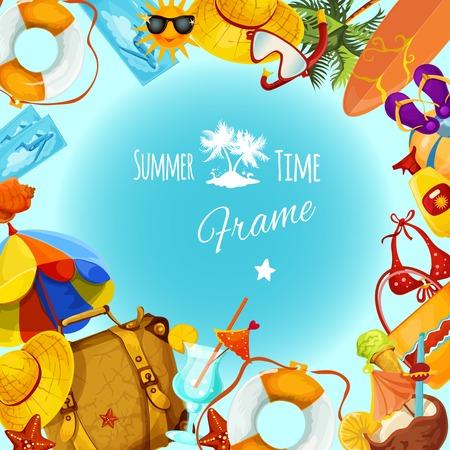 Summer holidays decorative postcard frame with travel and tourism elements vector illustration Illustration