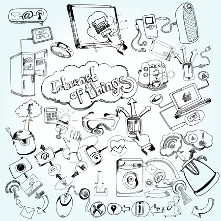 objects: Internet of things concept with doodle decorative network technology icons set vector illustration Illustration