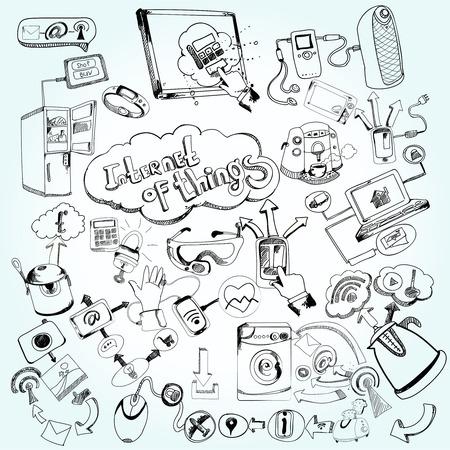 Internet van de dingen concept met doodle decoratieve netwerktechnologie pictogrammen instellen vector illustratie Vector Illustratie