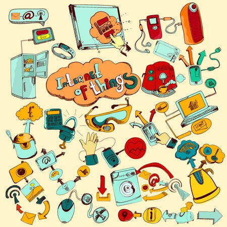 hand colored: Internet of things doodles colored set with remote control home network elements vector illustration Illustration