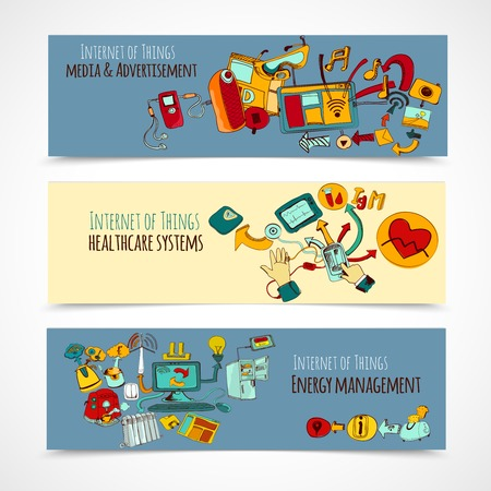 energy management: Internet of things horizontal banners set with media advertisement healthcare systems energy management sketch elements isolated vector illustration
